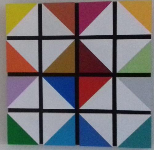 mdf-paneeltjes op mdf-plaat; 50 x 50 cm, in particuliere collectie te Wergea